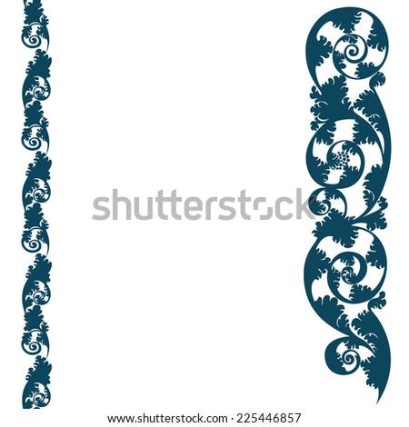 background lace border pattern, silhouette design plant ornament
