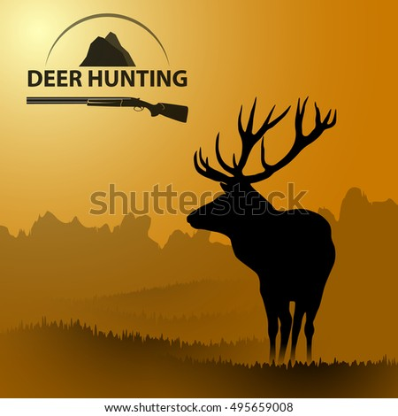 background landscape with a deer on the nature of hunting deer symbol. Deer hunting.