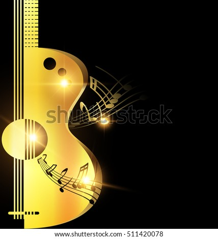 Stock Photo background light golden guitar