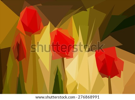 background  low poly tulips in