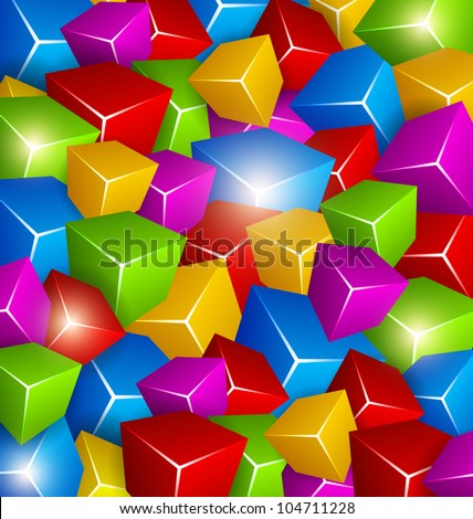 Background made of Colorful Cubes