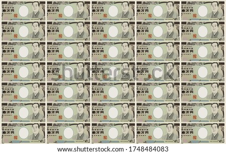 Background material: Illustration with a 10,000 yen bill, Lottery and gambling images - Translation: Bank of Japan notes, Ichiman Yen, Bank of Ja
