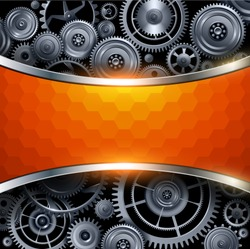 Background metal gears with hexagon patter banner, 3D vector illustration.