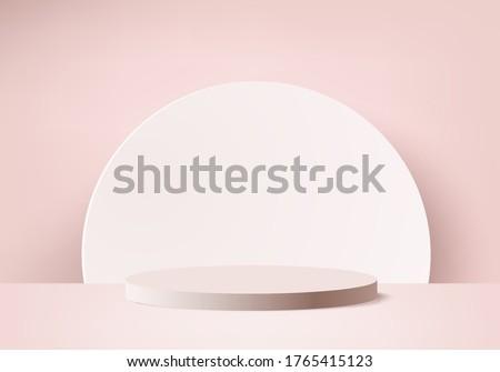 Background minimal podium and scene with 3d vector render in pink background platform, 3d mock up scene shape platform forms for product display. stage for product in pink background platform
