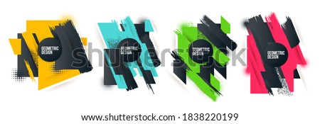 background minimalistic stylish geometry with brush strokes hipster colored frame design. Vector line gradient halftone. frame for text Modern Art graphics. vector illustration