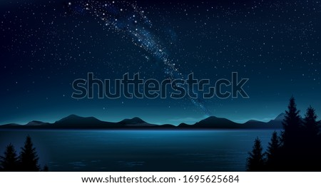 Background night above sea.Night mountain landscape and the Milky Way. Panoramic wide banner. Nature. Vector graphics. Foto d'archivio ©
