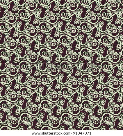 background of a drawing of curls. Seamless vector pattern.
