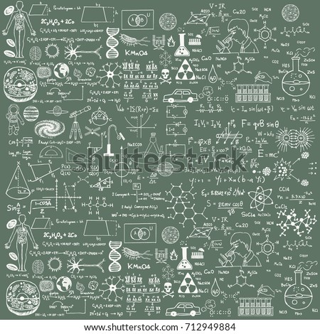 Background of a school board with scribbles painted chalk. A traditional image of chemistry and algebra. Ideal for the background of your design on a school theme. Vector illustration