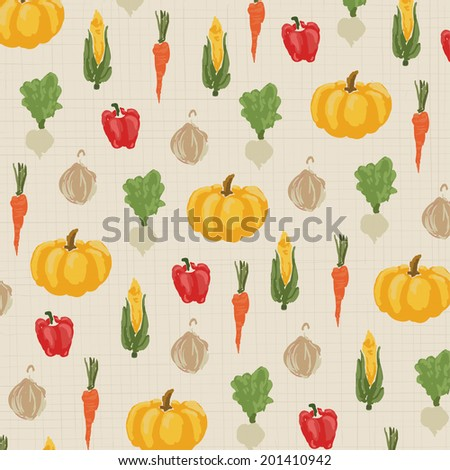 Background of abstract vegetable.  It is a background image of abstract vegetable pattern in vintage style.   #201410942
