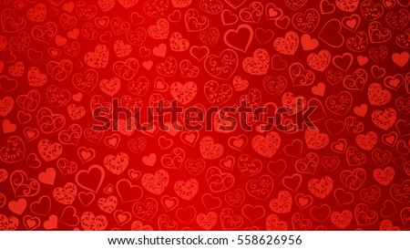 Background of big and small hearts with swirls in red colors