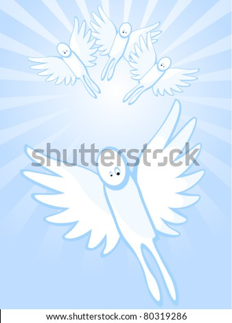 Background of blue color. Angels in heavens. One angel flies ahead of others.