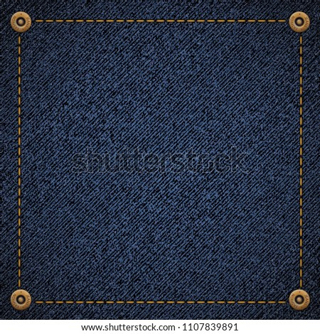 Background of blue denim fabric with threads and rivets. Stock vector illustration.