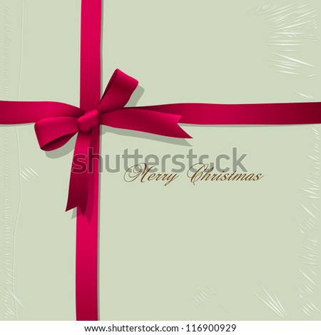 Background of box for candy with tied pink ribbon. Vector illustration