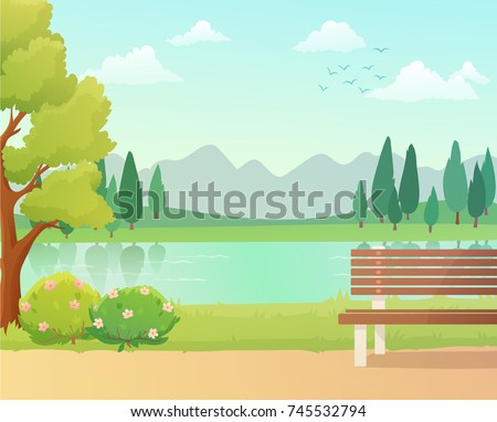 Background of city park in spring with trees, bushes and bench