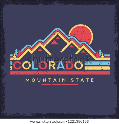 Background of Colorado, design for t-shirt for landscape trekking explore with trees. Expedition into the wild. Other outdoor adventure graphics for t shirt to climbing into the wilderness. vector