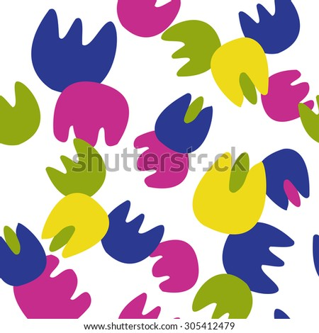 Background of colorful flowers. Pattern of flowers tulip and bluebell flower.