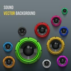 Background of Colorful Sound speakers Dynamics. Vector Illustration.