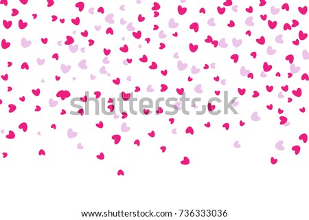 Background of falling hearts. Valentines confetti falling on white background.