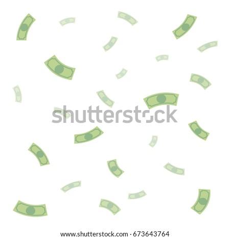 Background of falling money, rain of money, dollars, flat cartoon style