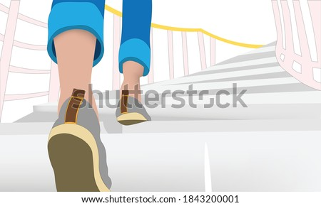 Background of Girl walking up stairs Сток-фото ©