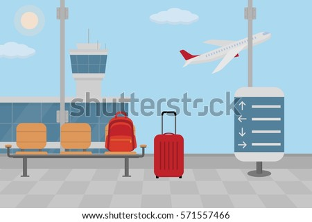 Background of hall at airport. Flat style, vector illustration.