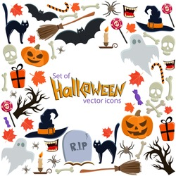 Background of Halloween icons with round frame. Template for packaging, cards, posters, menu. Vector stock illustration.