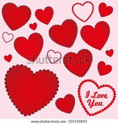 background of hearts with different textures, vector illustration