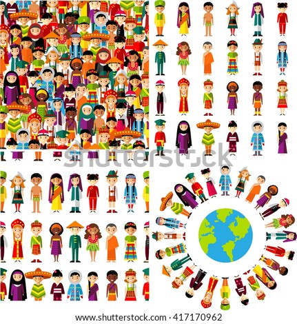 Background of international people in traditional costumes . Set background with set of multicultural national children.
