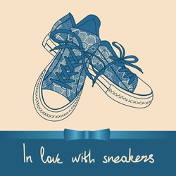 Background of lace pair of sneakers with text in love with sneakers