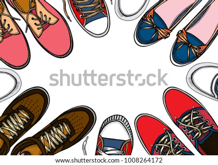 2c9b530a Background of many sports shoes lined up in a circle with free space for  text,