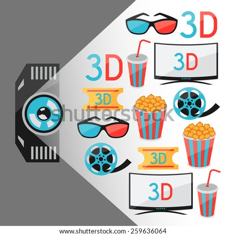 Background of movie elements and cinema icons.