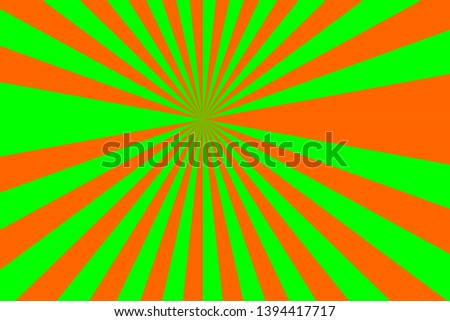 background of orange and green stripes,glowing glows,like light from the sun
