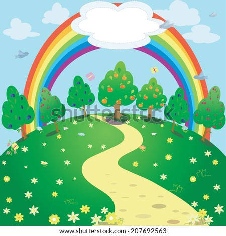 Background of rainbow  and garden .Vector  fantasy illustration