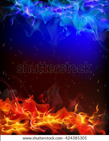 Stock Photo background of red and blue fire