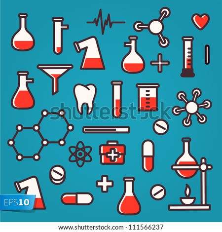 Background of scientific icons with reflection, vector Eps 10 illustration.
