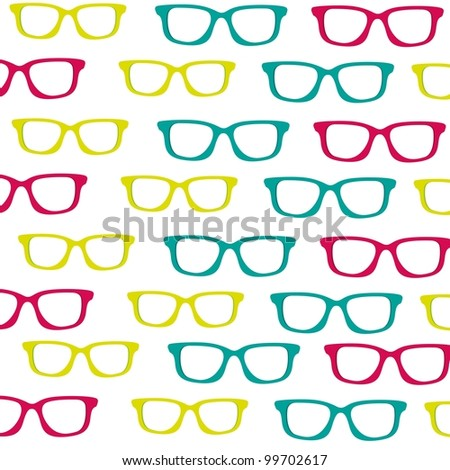 background of small colored glasses silhouettes isolated on white background