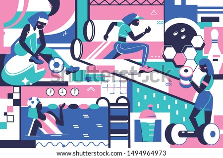 Background of sport equipment, sportsman and training place. Concept woman characters in modern sports ground of pool, gym and treadmill. Vector illustration.