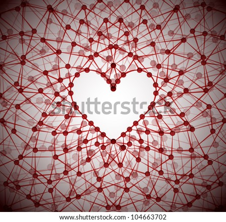 Background of the molecular structure, forming a heart shape. Eps 10
