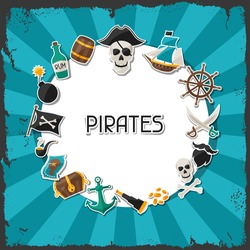 Background on pirate theme with stickers and objects.