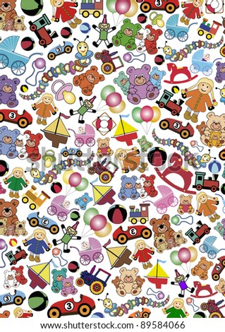 background out of many little colorful toys. Free sizable vector illustration