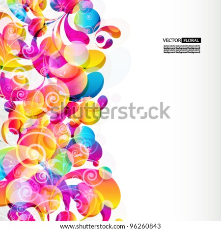 Background page, with text plates, border by one side, with bright drops, transparent flowers and curls. - stock vector