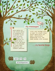 Background page, with text plates, framed by two strong healthy trees, with big trunks, leaves, and a bird