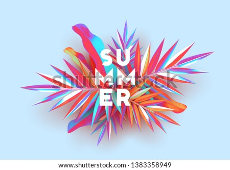 Background palm leaves branches of gradient color. Summer banner, poster with 3d objects fluorescent shade