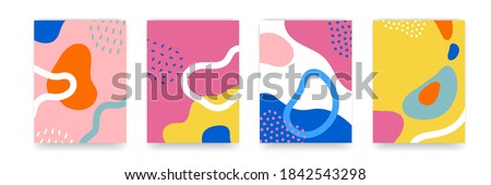 Background pattern, abstract color forms, vector Boho doodle and pop art creative covers design. Modern and retor minimalism trendy pattern background with abstract lines and popart color shapes stock photo