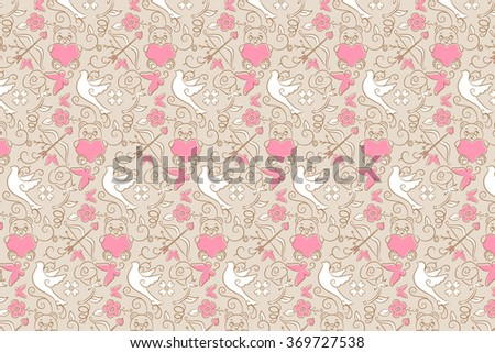 Background Pattern Brown Of Valentine Symbols Such As Rose Cupid