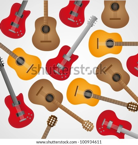 background pattern of acoustic and electric guitars, vector illustration