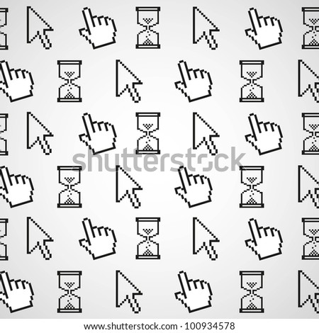 background pattern of computer icons, vector illustration