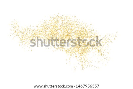 Background plume golden texture crumbs. Gold dust scattering on a white background. Sand particles grain or sand assembled. Vector backdrop dune, pieces abstraction. Illustration grunge for design.