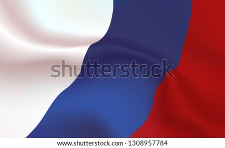 Background Russian Flag in folds. Tricolour banner. Pennant with stripes concept up close, standard Rus. Russian Federation illustration. Realistic soft shadows, highlights. Russia Vector. eps10