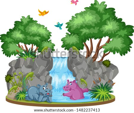 background scene of two hippo